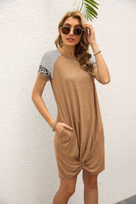 Coffee Stripe O-neck Twist Short Sleeve Dress with Pocket