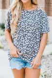 Leopard Printed Sloping Shoulder Short Sleeve Top