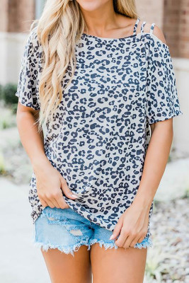 Leopard Tie-Dye Sloping Shoulder Short Sleeve Top