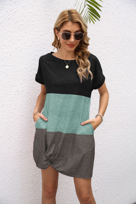 Fashion Contrast O-neck Twist Short Sleeve Dress with Pocket