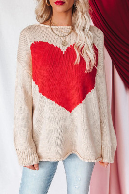 Apricot Heart Printed Pullover Sweater