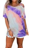 Purple Tie-Dye Sloping Shoulder Short Sleeve Top