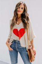 Apricot Heart Knit V-neck Long Sleeve Sweater