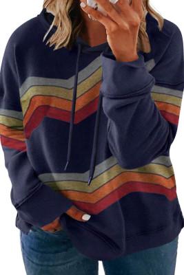 Blue Striped Drawstring Plus Size Hoodie