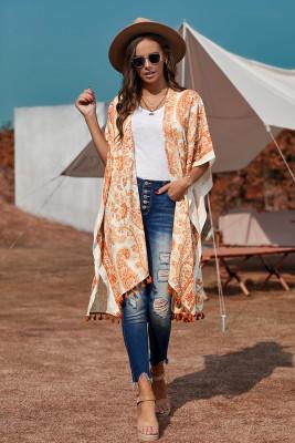 Orange Boho Paisley Print Kimono Beach Cover up with Tassel