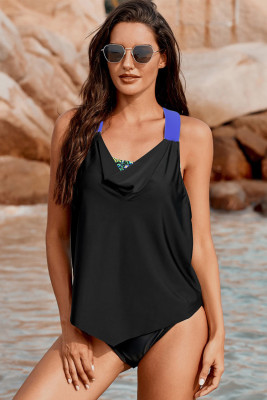 Black Cowl Neck Splicing Tank and Panty Tankini Set