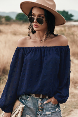 Navy Off Shoulder Long Sleeve Top