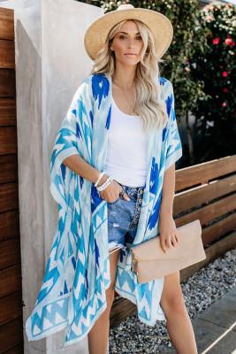 Sky Blue Kimono Sleeve Floral Print Graceful Cover Up