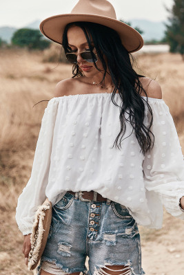 White Off Shoulder Long Sleeve Top