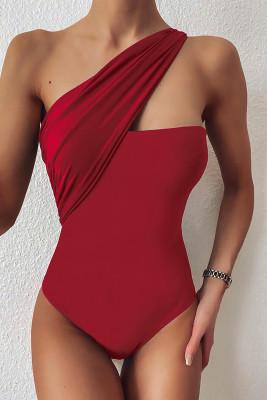 Red One-shoulder One-piece Swimwear