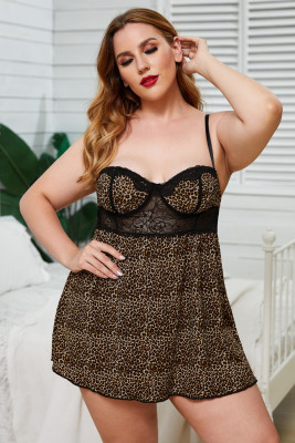 2pcs Leopard Print Lace Splicing Plus Size Babydoll with Thong