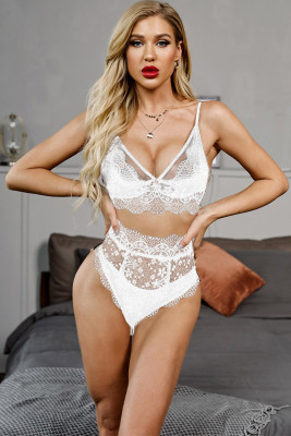 White Strappy Lace Bralette High Waist Lace Up Panty Set