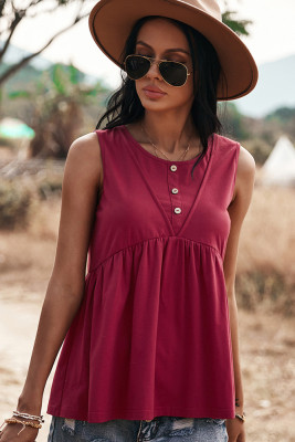 Wine Red Round Collar Backless Tank Top