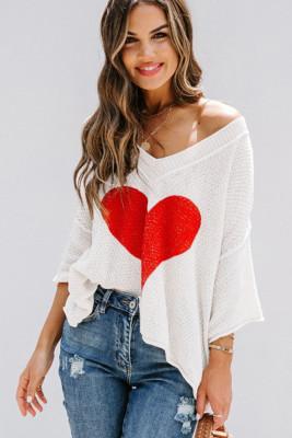 White Heart Knit V-neck Long Sleeve Sweater