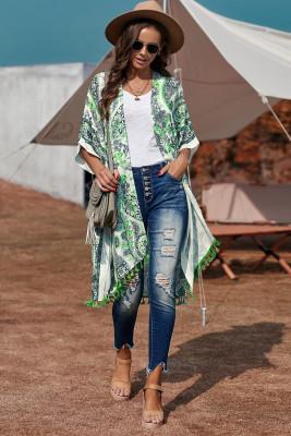 Green Boho Paisley Print Kimono Beach Cover up with Tassel