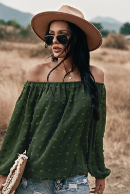 Army Green Off Shoulder Long Sleeve Top