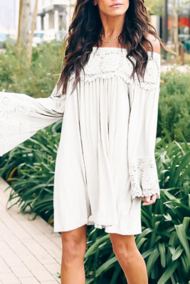 White Off Shoulder Lace Long Sleeve Dress