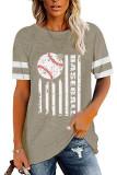 Khaki Round Neck Printed Short Sleeve T-shirt