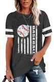 Dark Gray Round Neck Printed Short Sleeve T-shirt