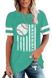 Green Round Neck Printed Short Sleeve T-shirt