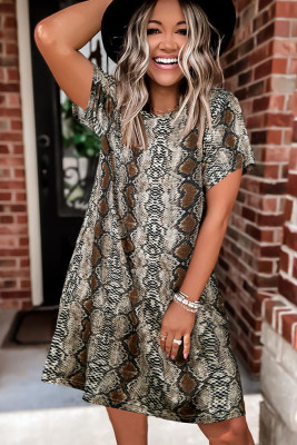 Multi-colored Leopard Printed O-Neck Short Sleeve Dress