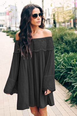 Black Off Shoulder Lace Long Sleeve Dress