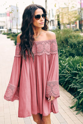 Pink Off Shoulder Lace Long Sleeve Dress