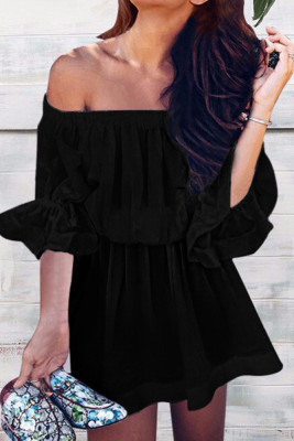 Black Off Shoulder Half Sleeve Pullover Dress