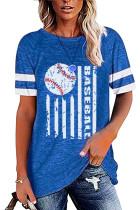 Blue Round Neck Printed Short Sleeve T-shirt