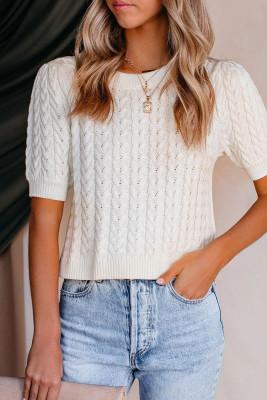 White Knit O-neck Short Sleeve Sweater
