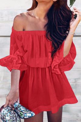 Red Off Shoulder Half Sleeve Pullover Dress