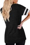 Black Round Neck Printed Short Sleeve T-shirt
