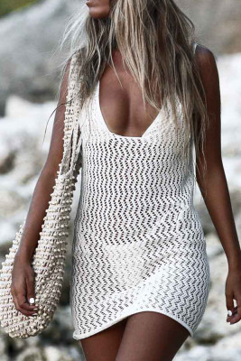 White Backless Beach Cover Up Dress