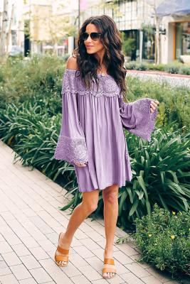 Pueple Off Shoulder Lace Long Sleeve Dress