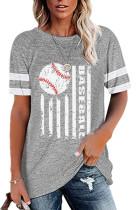 Gray Round Neck Printed Short Sleeve T-shirt