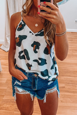 White Printed V-Neck Vest Tank Top