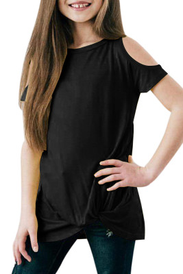 Black Cold Shoulder Twist Girls Short Sleeves Top