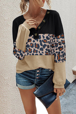 Leopard Contrast V-neck Long Sleeve Top