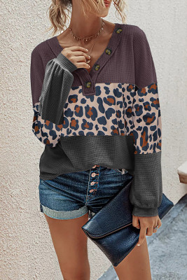 Purple Leopard Contrast V-neck Long Sleeve Top