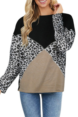 Black Leopard Splicing Long Sleeve Top