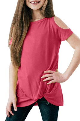 Rose Cold Shoulder Twist Girls Short Sleeves Top