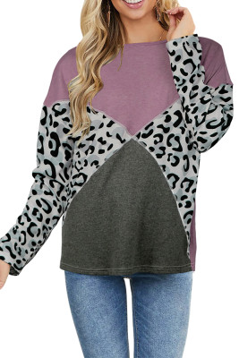 Purple Leopard Splicing Long Sleeve Top