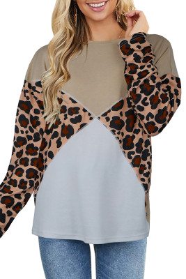 Apricot Leopard Splicing Long Sleeve Top