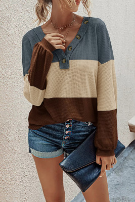 Fashion Contrast Knit  V-neck Long Sleeve Top