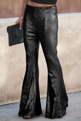 Black Sequin Bell Bottom Fashion Pants