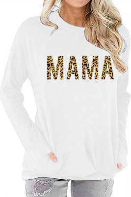 White MAMA Printed Long Sleeve Top