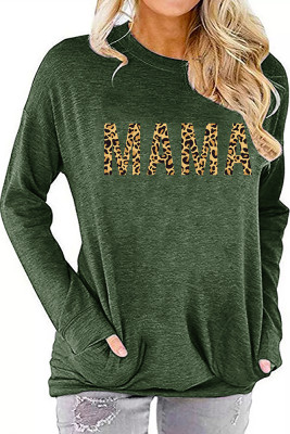 Army Green MAMA Printed Long Sleeve Top