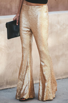 Gold Sequin Bell Bottom Fashion Pants