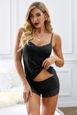 Black Sweet Lace Sleepwear Set
