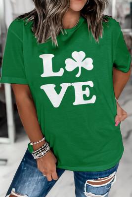 Green Love Printed Crew Neck Short Sleeve Top